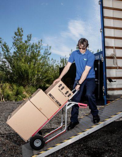 Scottish Removals unloading lorry